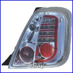 Feux Kit (Gauche et Droite) LED Fiat 500 Abarth 07- Verre Clair Chrome AK8