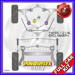 Fiat 500 1.2-1.4 Pas Abarth Bas Torq Mnt Route Rapide / Piste Powerflex Bush Kit